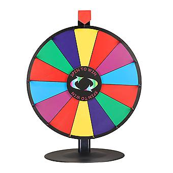 """WinSpin 18"""" Tabletop Editable Color Prize Wheel 14 Slot Spinning Game Steel Base w/ Dry Erase Tradeshow Carnival"""
