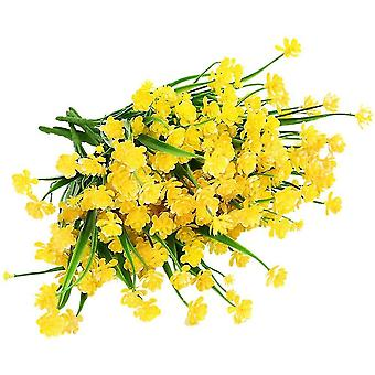 Artificial Flowers,8 Bundles Outdoor Uv Resistant Faux Plants(Yellow)