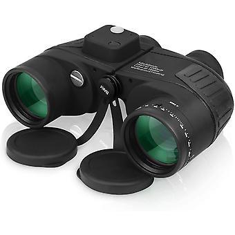 Lornetka morska 10x50 Professional dla dorosłych Obserwacja ptaków Długodystansowa wodoodporna lornetka z kompasem (czarna)