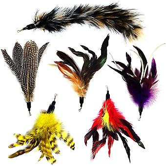 Cat Toy Replacement Wand Feather Refills For Interactive Kitten Wands 6pcs