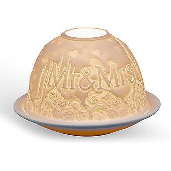 Light Glow Dome Tealight Holder, Mr and Mrs