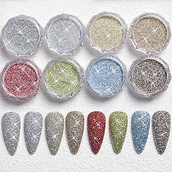 ネイルアートジュエリークリスタルダイヤモンドダイヤモンドダイヤモンドスーパーフラッシュシュガーダイヤモンドパウダー8色パック