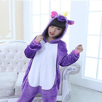 Kinder Junge Mädchen Einhorn Einteilige Nachtwäsche Jumpsuit Pyjama Fleece Pjs