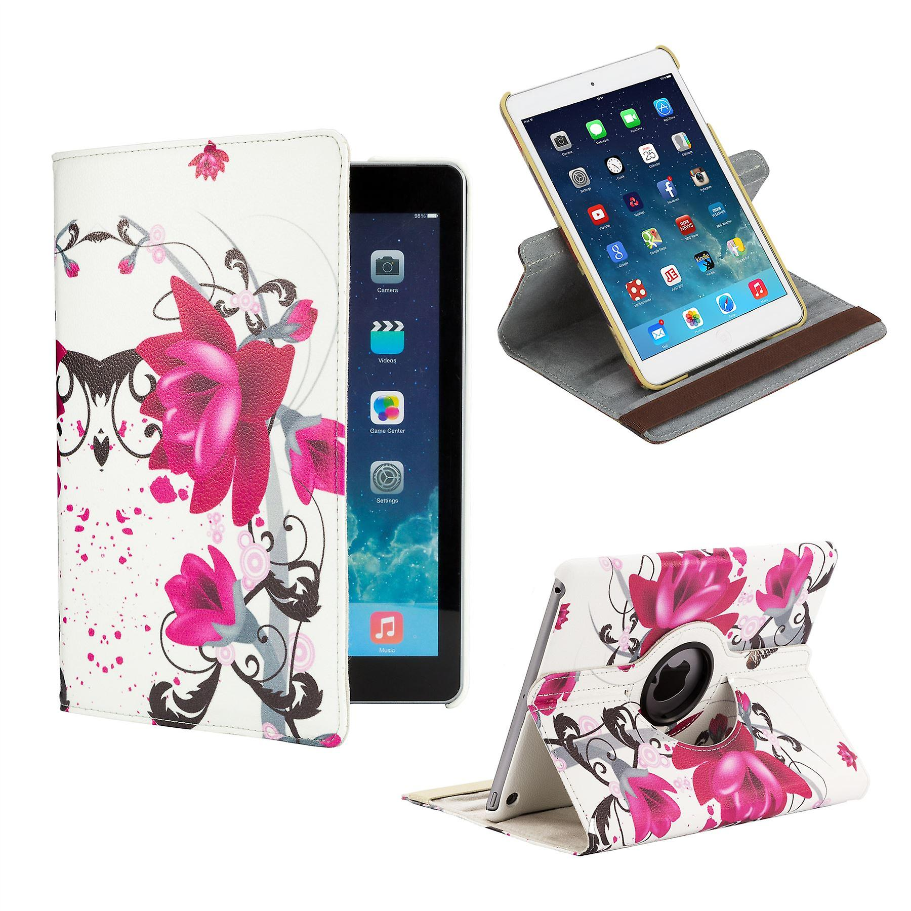 360 degree Design Book case for Apple iPad Mini 4th Gen - Purple Rose