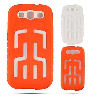 Cell Armor Hybrid Fit-On Jelly Case for Samsung Galaxy S3 (Fluorescent Orange w/White Skin)