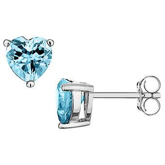 Blue Topaz Heart Earrings 4/5 Carats (ctw) in Sterling Silver