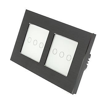 Я LumoS черный матовый алюминий Двойная рамка 6 Gang 1 путь сенсорным светодиодные переключения белой вставкой