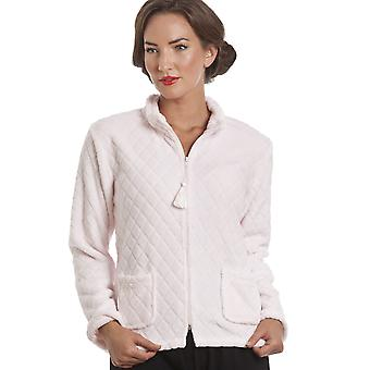Camille Light Pink Supersoft Zip Up Bed Jacket