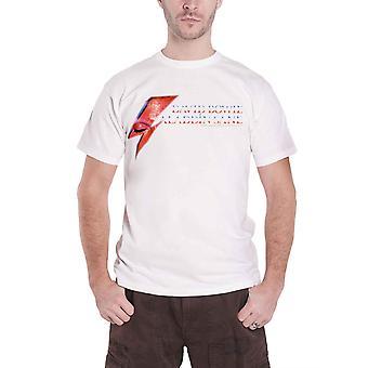 David Bowie, T Shirt Aladdin Sane Eye Flash Band Logo officiële Mens nieuwe wit