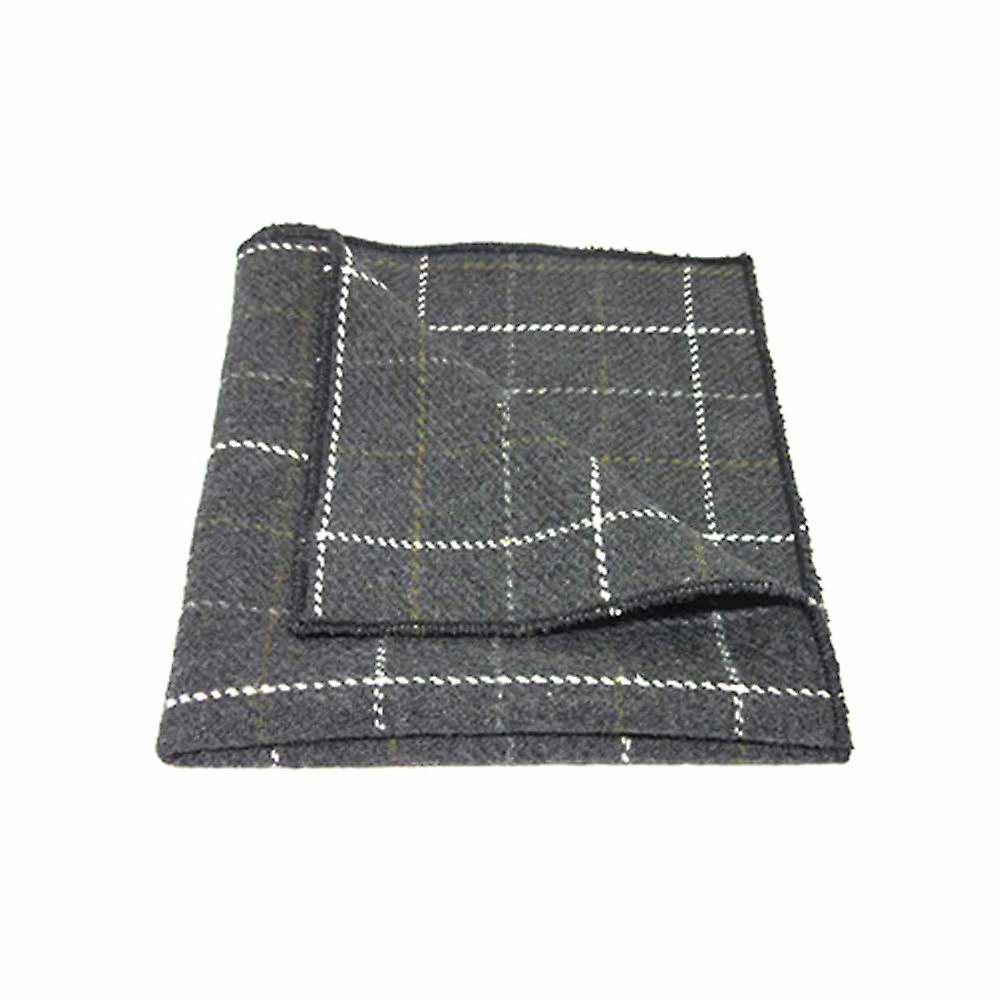 Heritage Check Charcoal Grey Men's Bow Tie & Pocket Square Set