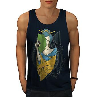 Girl Asia Japan Men NavyTank Top | Wellcoda