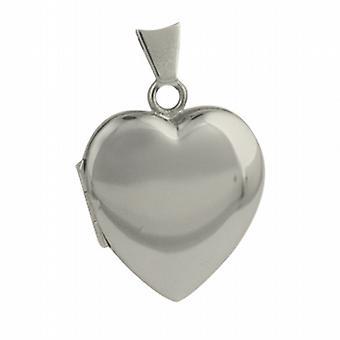 9kt hjerteformet hvidguld 21x19mm plain medaljon