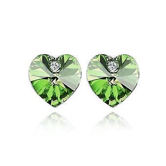 Crystal Stone Green Heart Shaped Stud Earrings BG1634