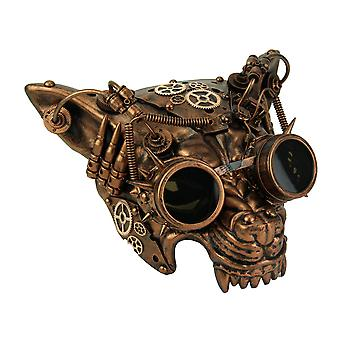 Mad Dog Metallic Copper Steampunk Wolf Face Costume Mask