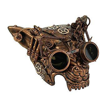 Maschera viso metallico rame Steampunk lupo di Mad Dog