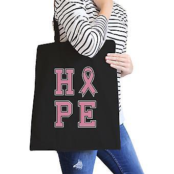 Hope Pink Ribbon Black Canvas Bag Gift For Breast Cancer Survivor