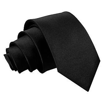 Black Plain Satin Regular Tie for Boys
