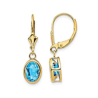 2.70 Carat (ctw) Natural Blue Topaz Leverback Dangle Earrings in 14K Yellow Gold