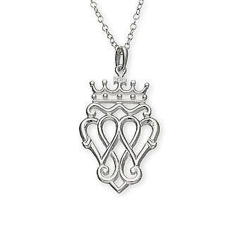 Sterling Silver Traditional Scottish Luckenbooth Heart Hand Crafted Necklace Pendant - P171