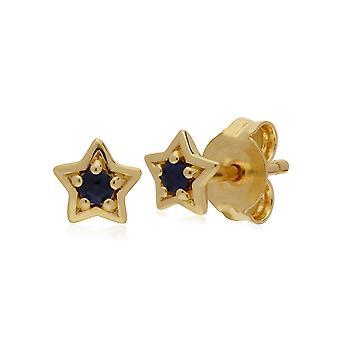 Gemondo 9ct Yellow Gold Sapphire Single Stone Star Stud Earrings