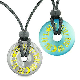 Amuletter elsker deg til månen og tilbake kjærligheten par mynt Donuts hematitt simulert katt øye halskjeder