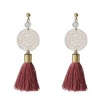 Gemshine Mala Earrings Gilded Gemstone Rose Beige 5 cm