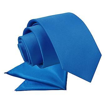 Electric Blue Plain Satin Krawatte & Einstecktuch für jungen eingestellt