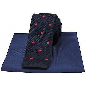 Дэвид ван Хаген заметили тонкие трикотажные шелковый галстук и ребристые платок Set - флот/красный