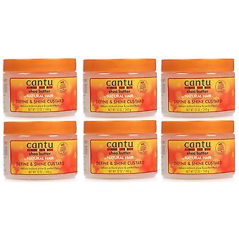 Cantu Natural Hair Define And Shine Custard 12oz Jar (6 Pack)