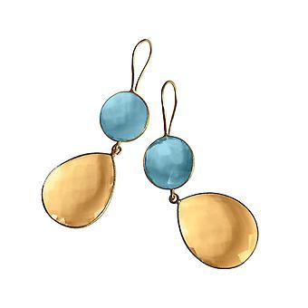 Gemshine örhängen Citrin och blå topas droppar i 925 silver eller guldpläterad