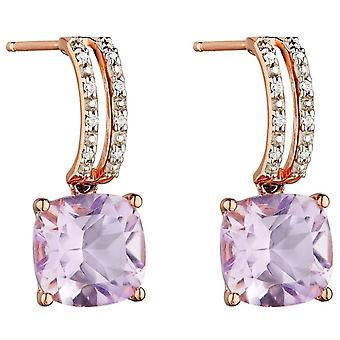 Elements Gold Square Diamond Earrings - Rose Gold/Pink