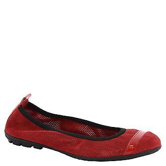Leonardo Shoes Woman's handmade openwork ballerinas in red leather
