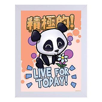 Handa Panda Live For Today White Wooden Framed Print