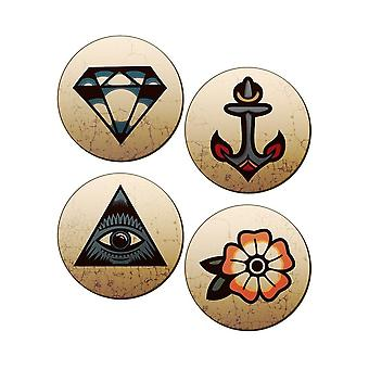 Grindstore tradicional tatuajes 4 pieza Coaster set