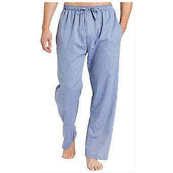British Boxers Garrison Herringbone Cotton Pyjama Trousers - Blue