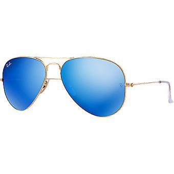 レイ - 禁止アビエイター大きなゴールデン マスト偏光ミラー ブルー フラッシュ