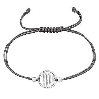 Scorpio Zodiac Sign - 925 Sterling Silver + Nylon Cord Corded Bracelets - W39008X