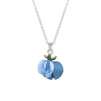 Eternal Collection Sweet Pea Blue Enamel Silver Tone Pendant