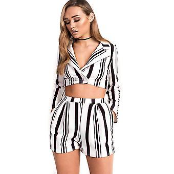 IKRUSH Womens Nina Striped Blazer Cropped Co-ord