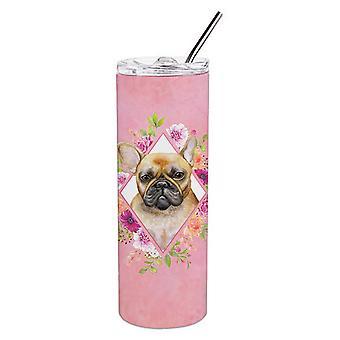 Fawn franska Bulldog rosa blommor dubbla väggar rostfrittstål 20 oz Skinny Tumb