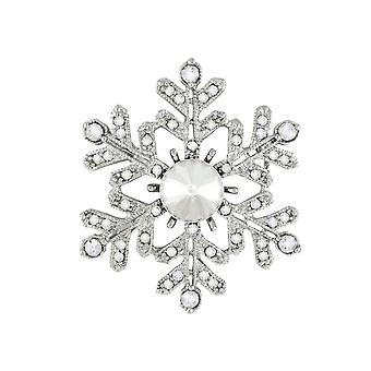 Eternal Collection Blizzard Clear Crystal Silver Tone Snowflake Brooch