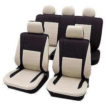 Black & Beige Elegant Car Seat Cover set For Seat Malaga