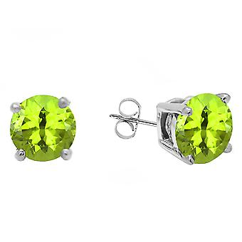 Dazzlingrock Collection 14K 5 MM Each Round Peridot Ladies Solitaire Stud Earrings, White Gold