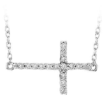 Dazzlingrock Collection 0.05 Carat (ctw) Sideways Cross Round White Diamond Ladies Pendant with 18 inch Chain, Sterling Silver