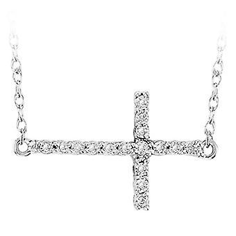 Dazzlingrock Collection 0,05 Carat (CTW) sidelæns Cross Round hvid diamant dame vedhæng med 18 tommer kæde, sterling sølv