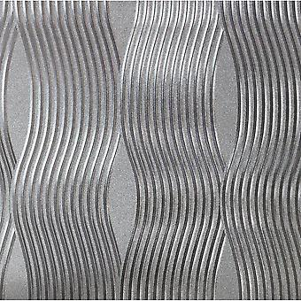 Foil Wave Wallpaper lujo texturizado vinilo metalizado plata oro rosa champán