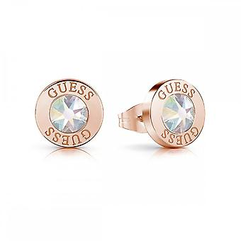 Guess Jewellery Guess Rose Gold Aurore Boreale Crystal & Logo Studs UBE78096