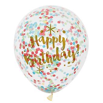 Único partido claro 12 pulgadas cumpleaños deslumbrante oro confeti globos (paquete de 6)