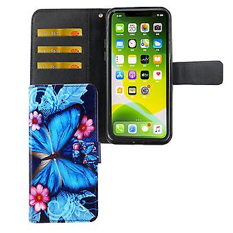 Apple iPhone 11 Pro Max Case Phone Case Cover Cover Flip Case with Card Tray Blue Butterfly