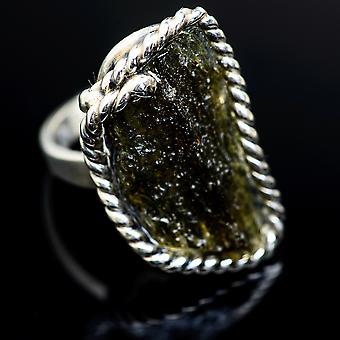 Czech Moldavite Ring Size 7 Adjustable (925 Sterling Silver)  - Handmade Boho Vintage Jewelry RING978127